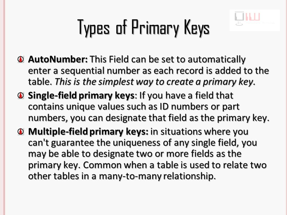 Change Primary Key Open the Addresses Table Notice that ID is the Primary Key, it needs to be changed to SSN Right-click on the Key Icon Click Primary Key Move to SSN Right-click on the Key Icon Click Primary Key There must be data in new Primary key field
