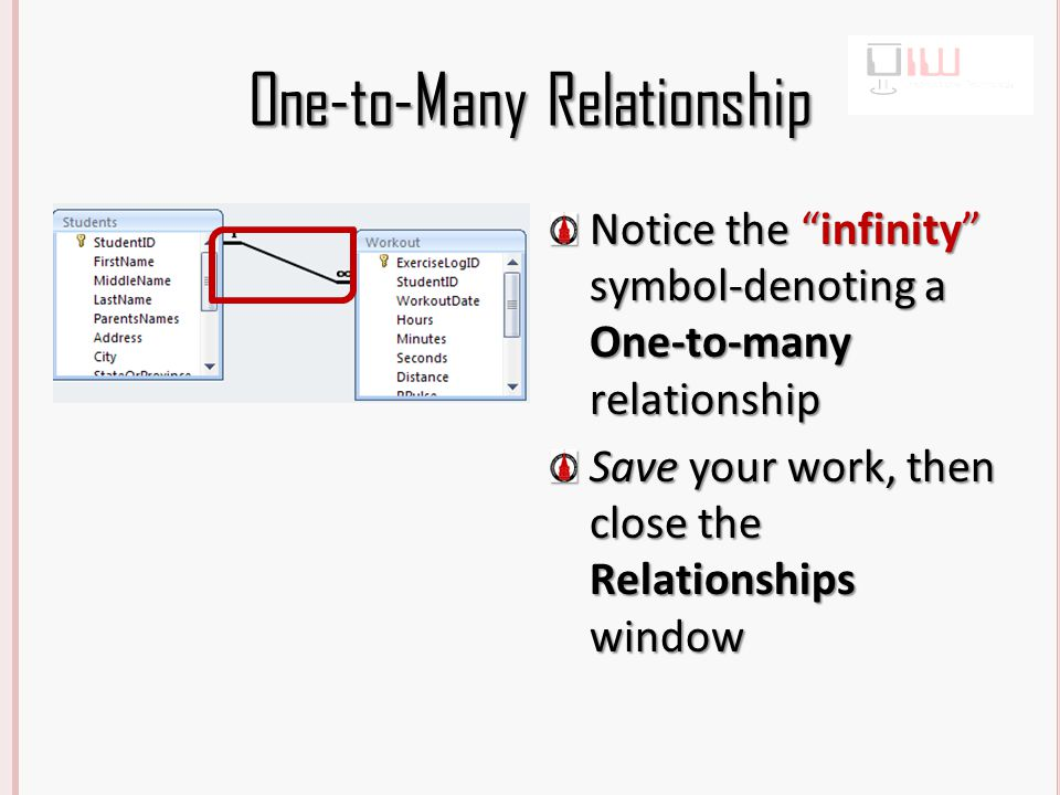 One-to-Many Relationship Notice the infinity symbol-denoting a One-to-many relationship Save your work, then close the Relationships window