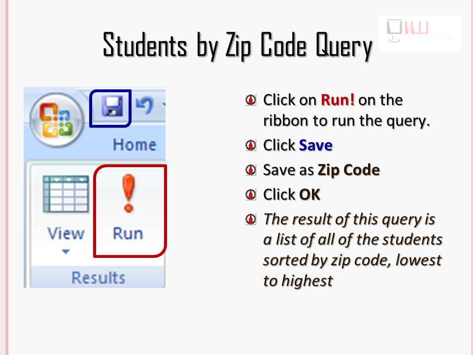 2001 Query Click Query Design Click Open. Select the Workout table Click Add Click Close