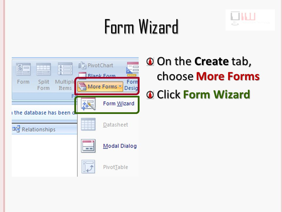 Form Wizard Select the Students table, then select all fields by clicking >> Select the Workout table, then select all fields by clicking >>