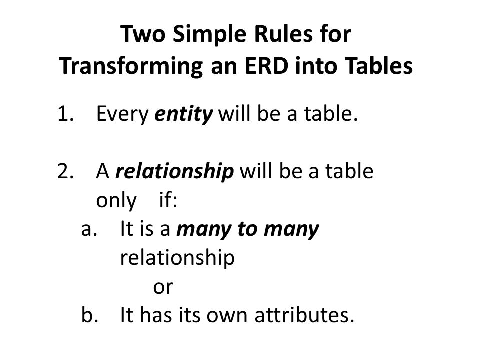 Two Simple Rules for Transforming an ERD into Tables 1.Every entity will be a table.