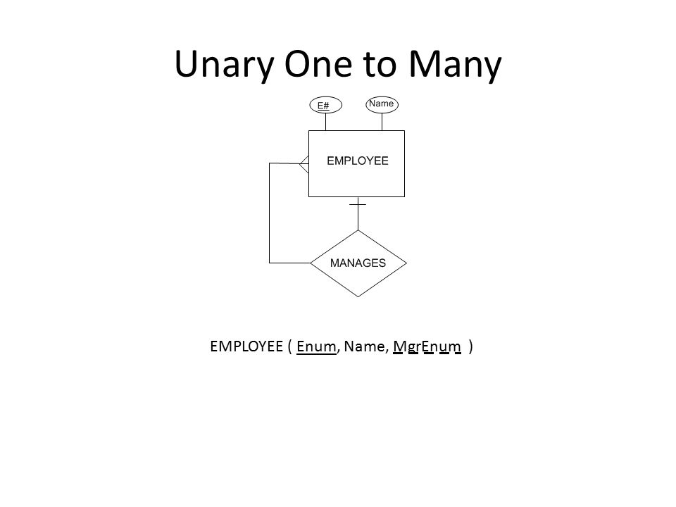 Unary One to Many EMPLOYEE ( Enum, Name, MgrEnum )