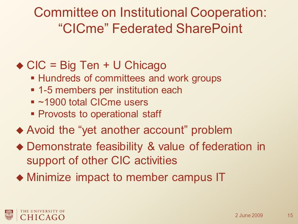  CIC = Big Ten + U Chicago  Hundreds of committees and work groups  1-5 members per institution each  ~1900 total CICme users  Provosts to operational staff  Avoid the yet another account problem  Demonstrate feasibility & value of federation in support of other CIC activities  Minimize impact to member campus IT 15 Committee on Institutional Cooperation: CICme Federated SharePoint 2 June 2009