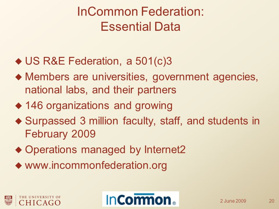  US R&E Federation, a 501(c)3  Members are universities, government agencies, national labs, and their partners  146 organizations and growing  Surpassed 3 million faculty, staff, and students in February 2009  Operations managed by Internet2  www.incommonfederation.org 2 June 200920 InCommon Federation: Essential Data