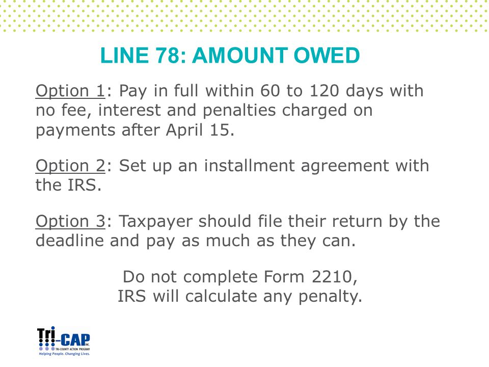 LINE 78: AMOUNT OWED Option 1: Pay in full within 60 to 120 days with no fee, interest and penalties charged on payments after April 15. Option 2: Set