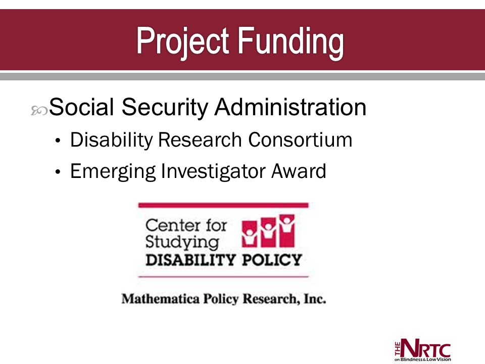  Social Security Administration Disability Research Consortium Emerging Investigator Award