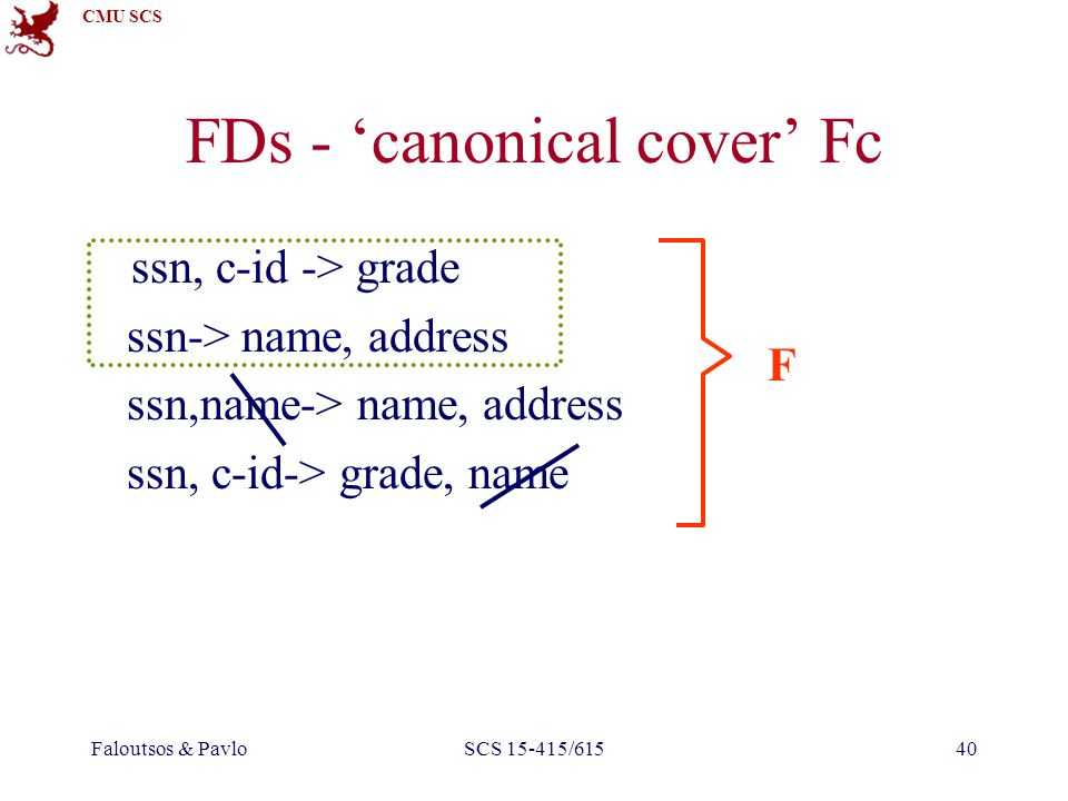 CMU SCS Faloutsos & PavloSCS 15-415/61540 FDs - 'canonical cover' Fc ssn, c-id -> grade ssn-> name, address ssn,name-> name, address ssn, c-id-> grade, name F