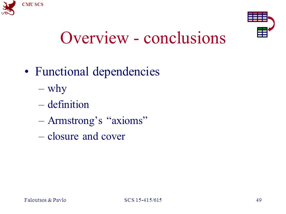 CMU SCS Faloutsos & PavloSCS 15-415/61549 Overview - conclusions Functional dependencies –why –definition –Armstrong's axioms –closure and cover