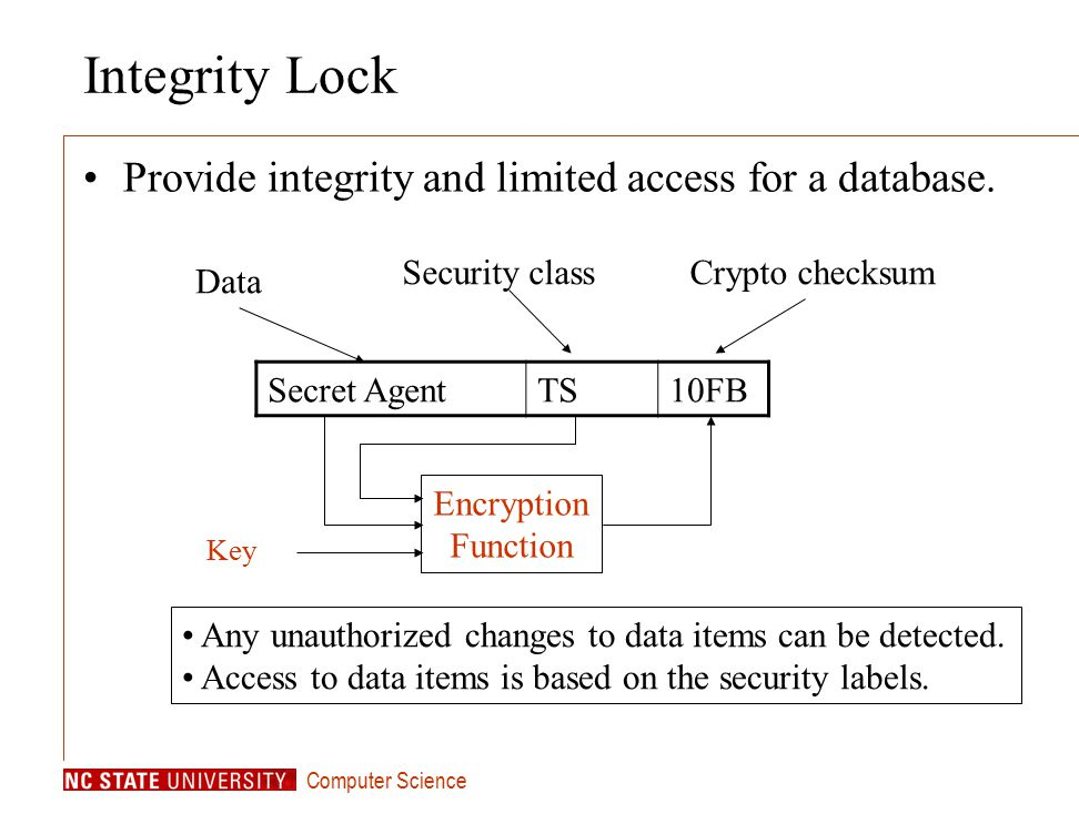 Computer Science Secret AgentTS10FB Data Security classCrypto checksum Any unauthorized changes to data items can be detected.