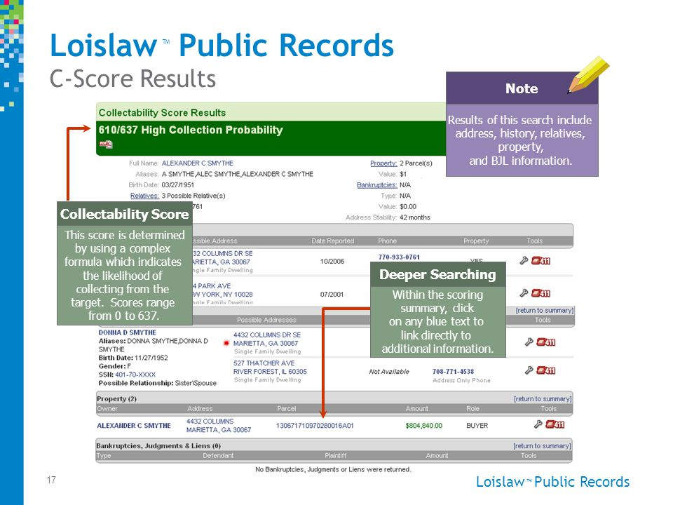Loislaw Public Records ™ 17 This score is determined by using a complex formula which indicates the likelihood of collecting from the target.