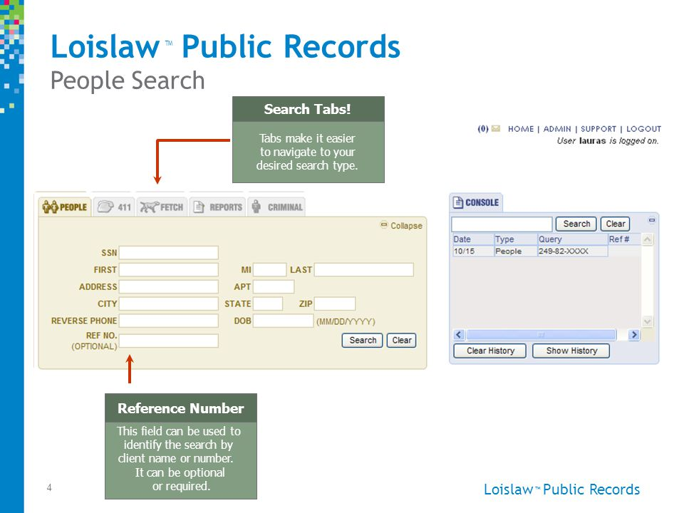 Loislaw Public Records ™ 4 People Search Tabs make it easier to navigate to your desired search type.