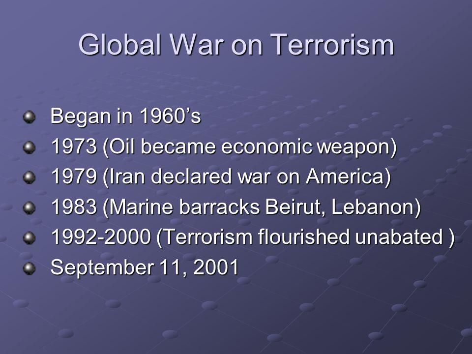 Global War on Terrorism Began in 1960's Began in 1960's 1973 (Oil became economic weapon) 1973 (Oil became economic weapon) 1979 (Iran declared war on
