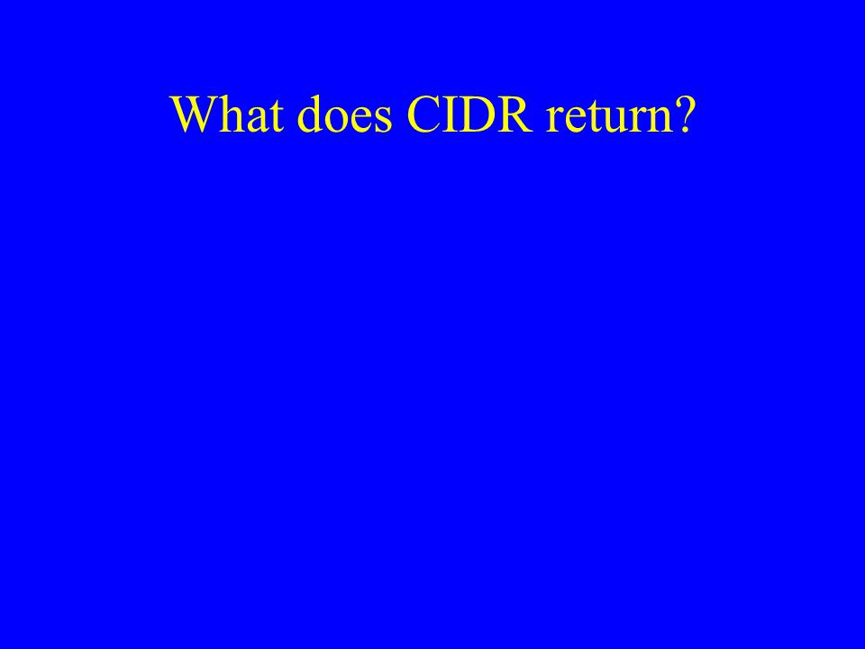 What does CIDR return