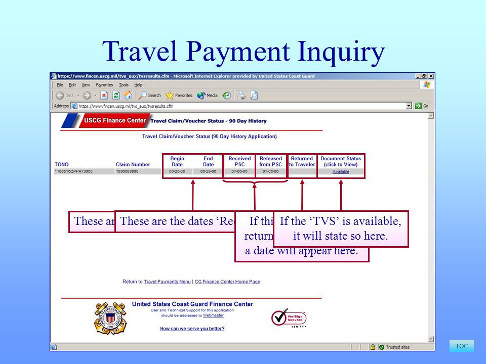 Travel Payment Inquiry TOC These are the 'Begin' and 'End' dates of Travel.