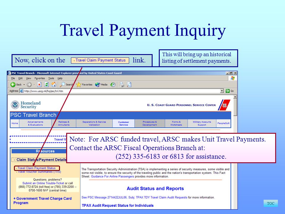 Travel Payment Inquiry TOC Now, click on the link.