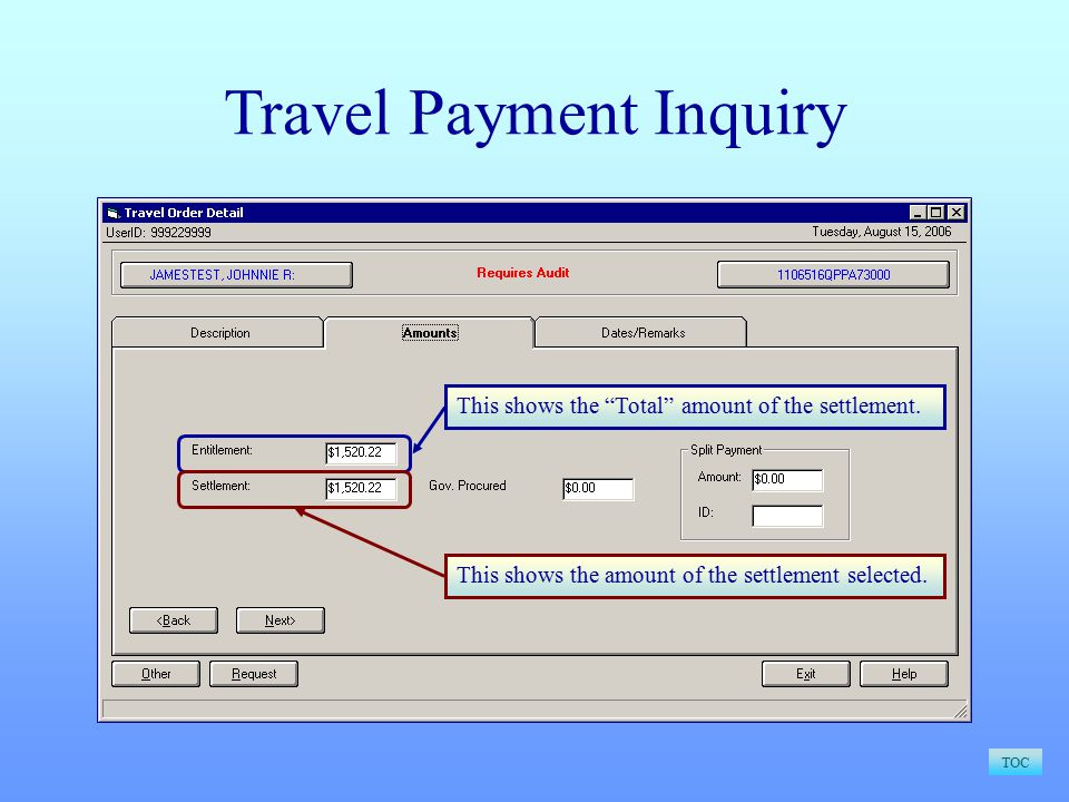 TOC Travel Payment Inquiry This shows the Total amount of the settlement.