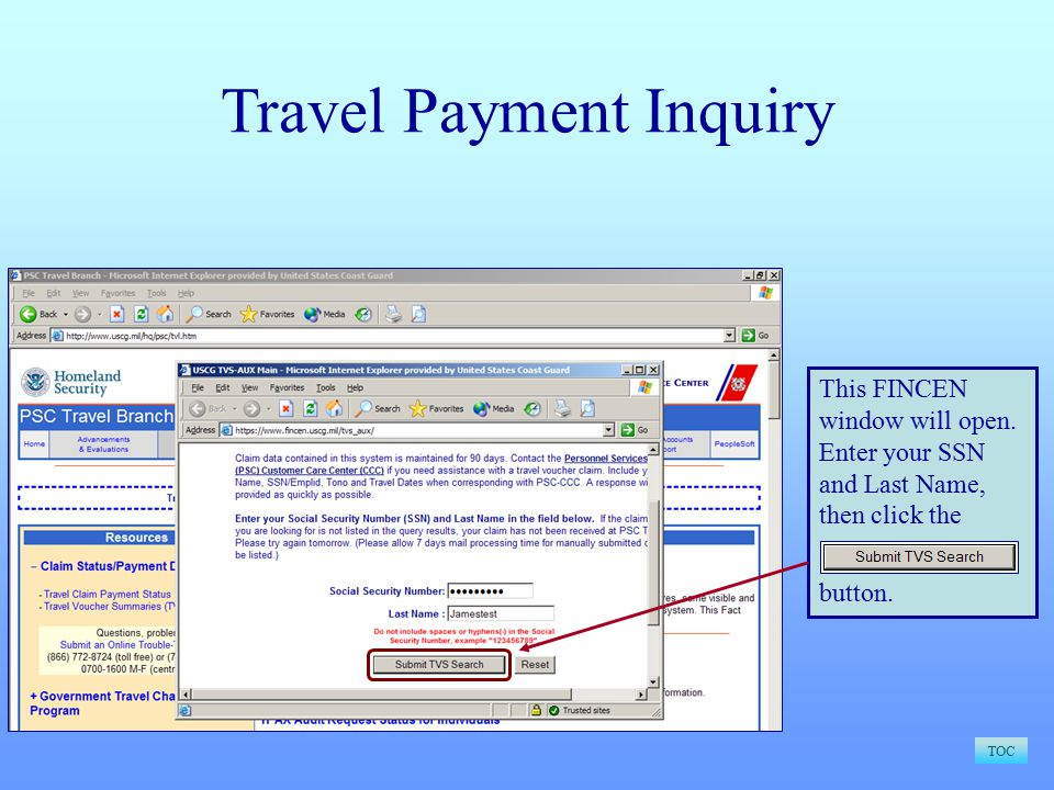 Travel Payment Inquiry TOC This FINCEN window will open.