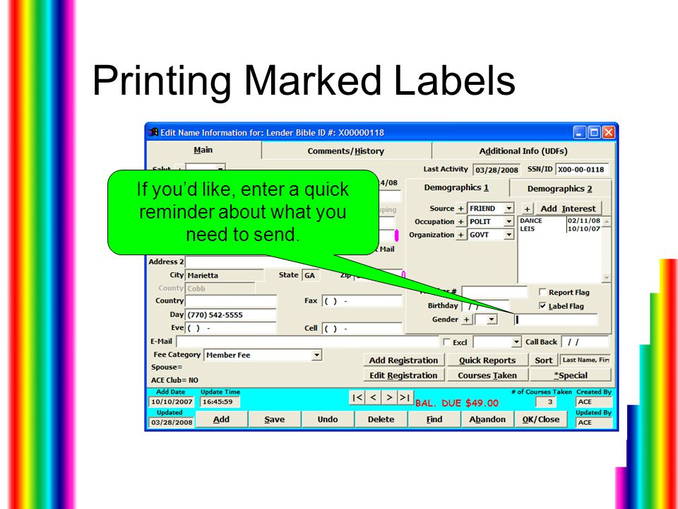 Printing Marked Labels If you'd like, enter a quick reminder about what you need to send.