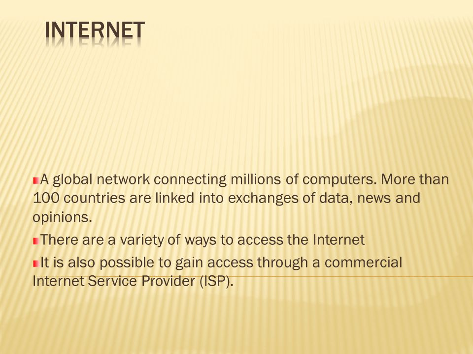  The internet works by defining an address for each resource attached to it.