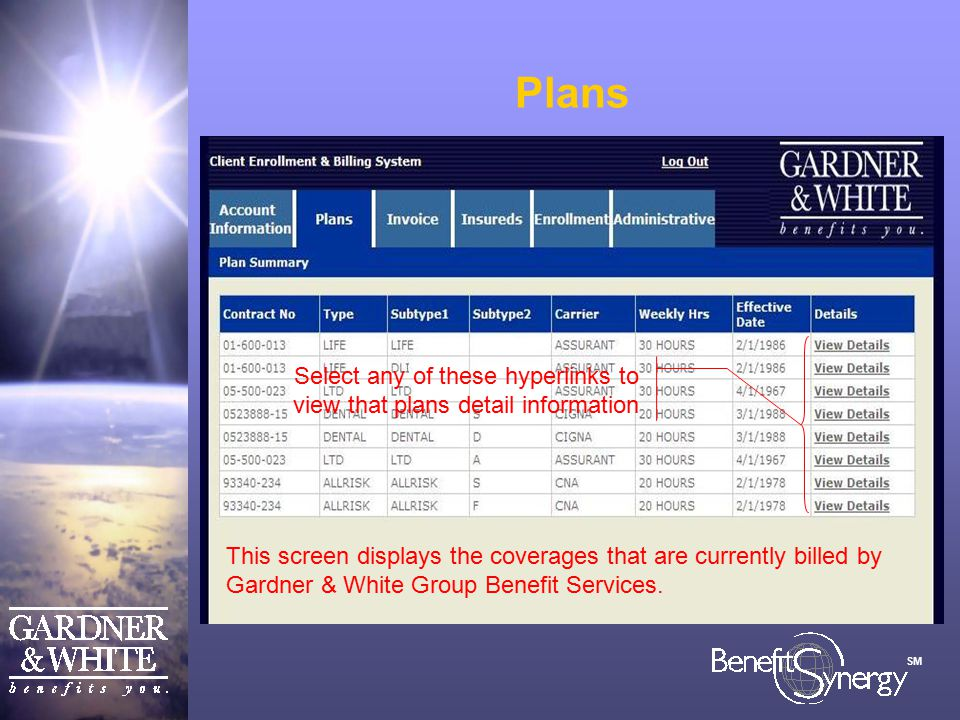 SM Plans This screen displays the coverages that are currently billed by Gardner & White Group Benefit Services.