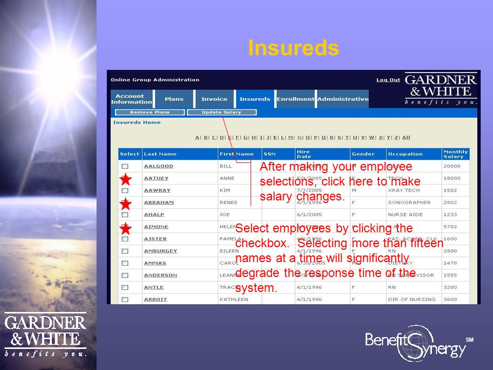 SM Insureds Select employees by clicking the checkbox.