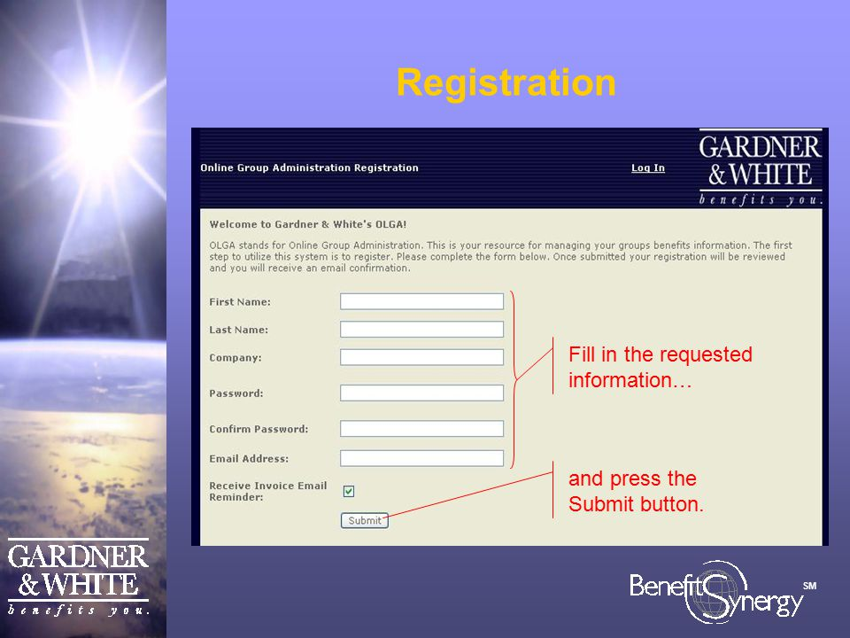 SM Registration Fill in the requested information… and press the Submit button.