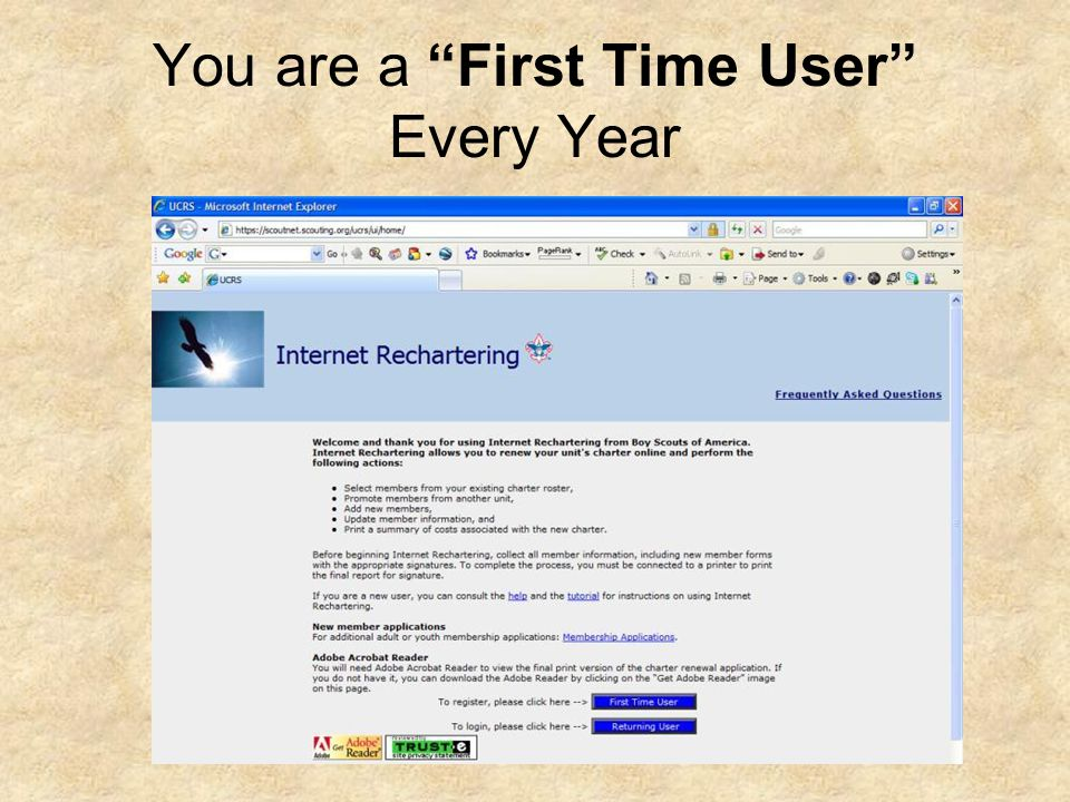 You are a First Time User Every Year