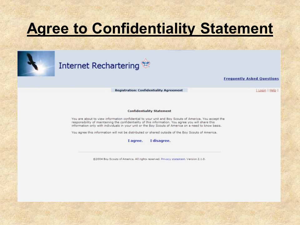 Agree to Confidentiality Statement