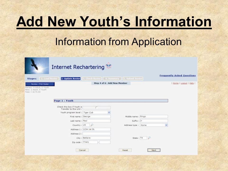 Add New Youth's Information Information from Application