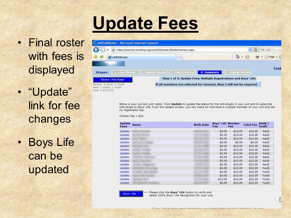 Update Fees Final roster with fees is displayed Update link for fee changes Boys Life can be updated