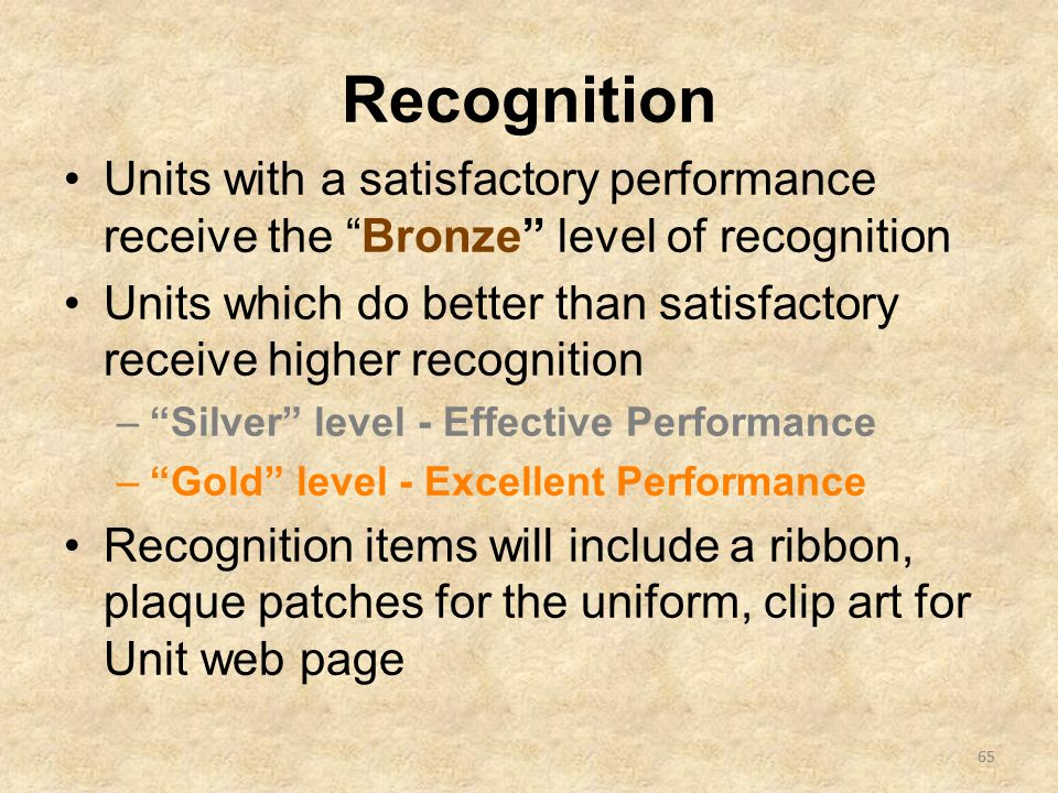 Recognition Units with a satisfactory performance receive the Bronze level of recognition Units which do better than satisfactory receive higher recognition – Silver level - Effective Performance – Gold level - Excellent Performance Recognition items will include a ribbon, plaque patches for the uniform, clip art for Unit web page 65