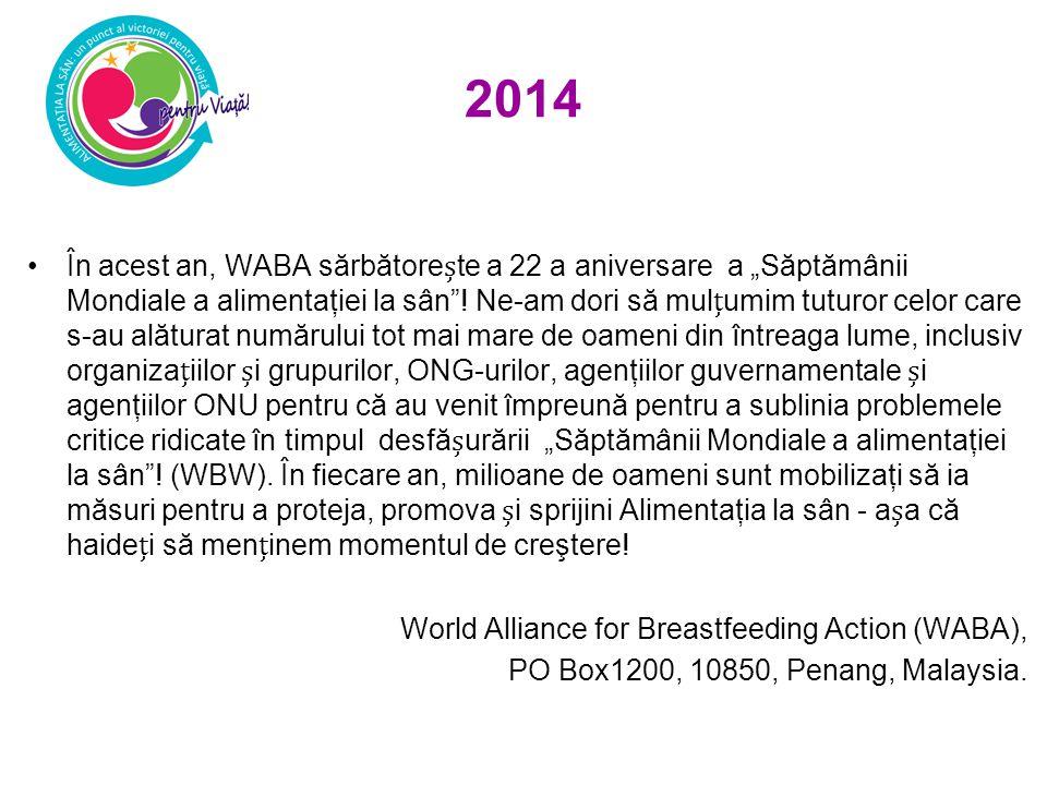 """2014 În acest an, WABA sărbătorete a 22 a aniversare a """"Săptămânii Mondiale a alimentaţiei la sân ."""