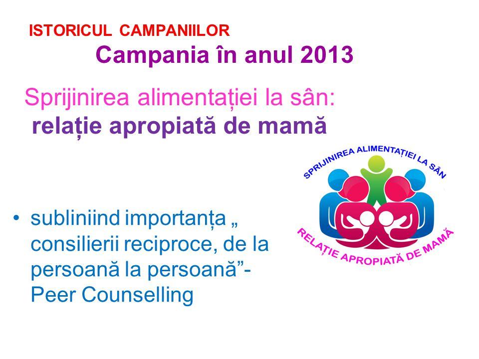 """ISTORICUL CAMPANIILOR Campania în anul 2013 Sprijinirea alimentaţiei la sân: relaţie apropiată de mamă subliniind importanţa """" consilierii reciproce, de la persoană la persoană - Peer Counselling"""