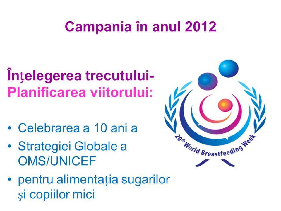 Campania în anul 2012 Înelegerea trecutului- Planificarea viitorului: Celebrarea a 10 ani a Strategiei Globale a OMS/UNICEF pentru alimentaia sugarilor i copiilor mici