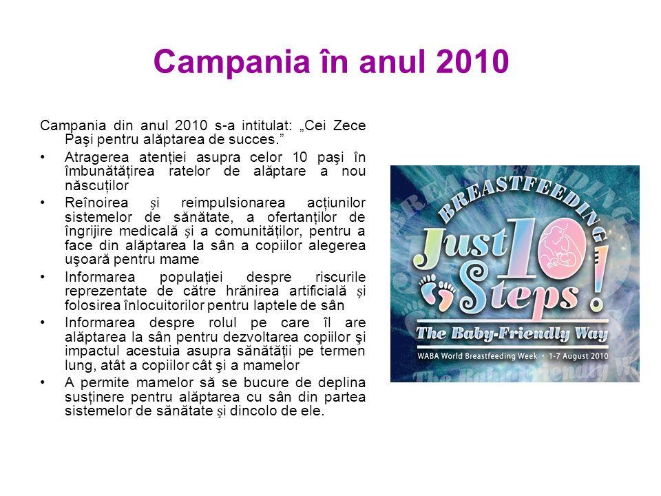 """Campania în anul 2010 Campania din anul 2010 s-a intitulat: """"Cei Zece Paşi pentru alăptarea de succes. Atragerea atenţiei asupra celor 10 paşi în îmbunătăţirea ratelor de alăptare a nou născuţilor Reînoirea i reimpulsionarea acţiunilor sistemelor de sănătate, a ofertanţilor de îngrijire medicală i a comunităţilor, pentru a face din alăptarea la sân a copiilor alegerea uşoară pentru mame Informarea populaţiei despre riscurile reprezentate de către hrănirea artificială i folosirea înlocuitorilor pentru laptele de sân Informarea despre rolul pe care îl are alăptarea la sân pentru dezvoltarea copiilor şi impactul acestuia asupra sănătăţii pe termen lung, atât a copiilor cât şi a mamelor A permite mamelor să se bucure de deplina susţinere pentru alăptarea cu sân din partea sistemelor de sănătate i dincolo de ele."""