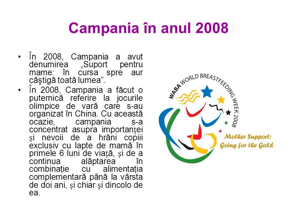 """Campania în anul 2008 În 2008, Campania a avut denumirea """"Suport pentru mame: în cursa spre aur câştigă toată lumea ."""