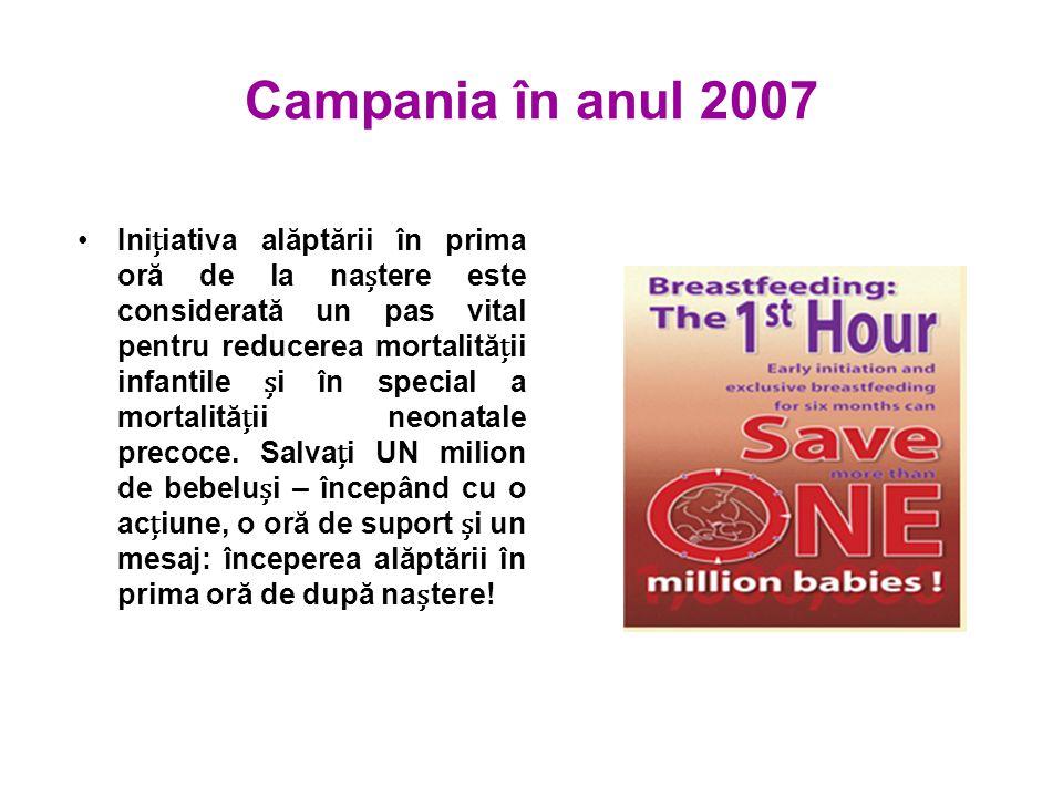 Campania în anul 2007 Iniiativa alăptării în prima oră de la natere este considerată un pas vital pentru reducerea mortalităii infantile i în special a mortalităii neonatale precoce.