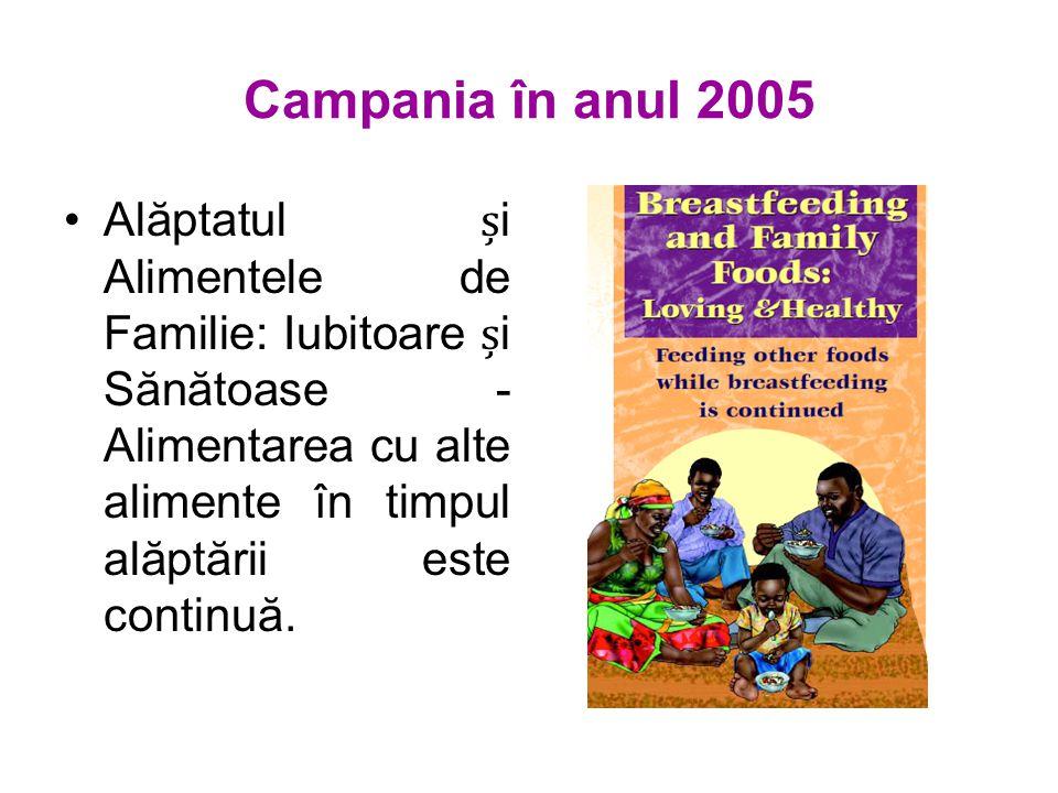 Campania în anul 2005 Alăptatul i Alimentele de Familie: Iubitoare i Sănătoase - Alimentarea cu alte alimente în timpul alăptării este continuă.