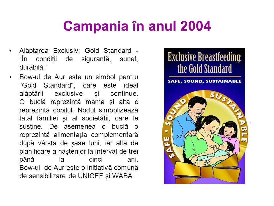 Campania în anul 2004 Alăptarea Exclusiv: Gold Standard - În condiţii de siguranţă, sunet, durabilă. Bow-ul de Aur este un simbol pentru Gold Standard , care este ideal alăptării exclusive şi continue.