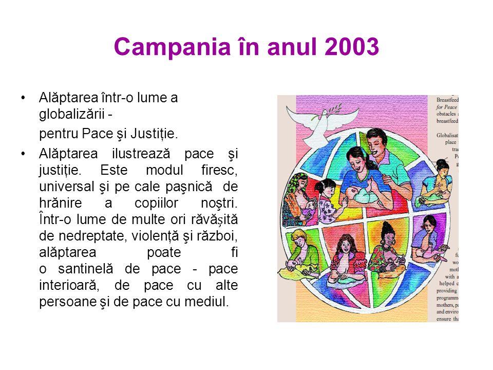 Campania în anul 2003 Alăptarea într-o lume a globalizării - pentru Pace şi Justiţie.