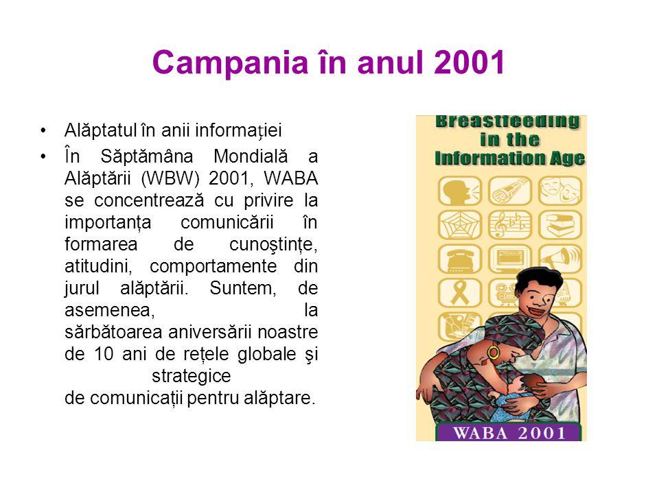 Campania în anul 2001 Alăptatul în anii informaiei În Săptămâna Mondială a Alăptării (WBW) 2001, WABA se concentrează cu privire la importanţa comunicării în formarea de cunoştinţe, atitudini, comportamente din jurul alăptării.