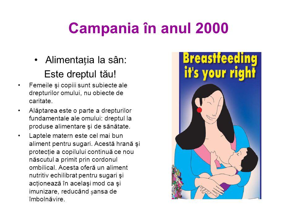Campania în anul 2000 Alimentaia la sân: Este dreptul tău.