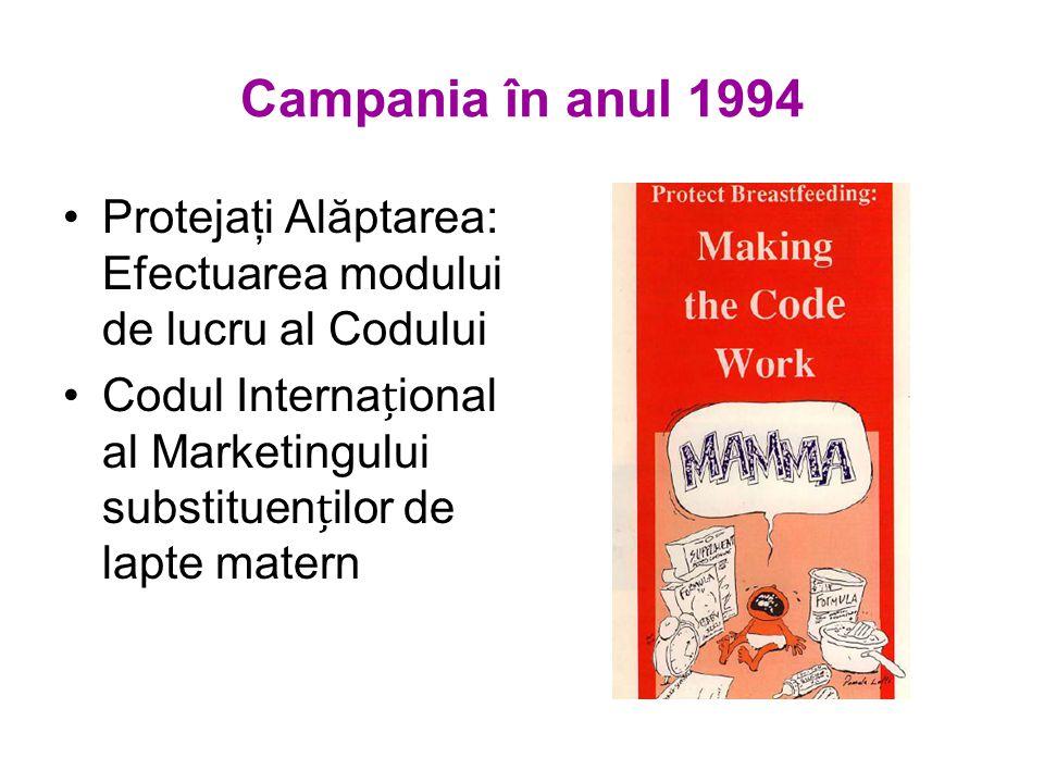 Campania în anul 1994 Protejaţi Alăptarea: Efectuarea modului de lucru al Codului Codul Internaional al Marketingului substituenilor de lapte matern