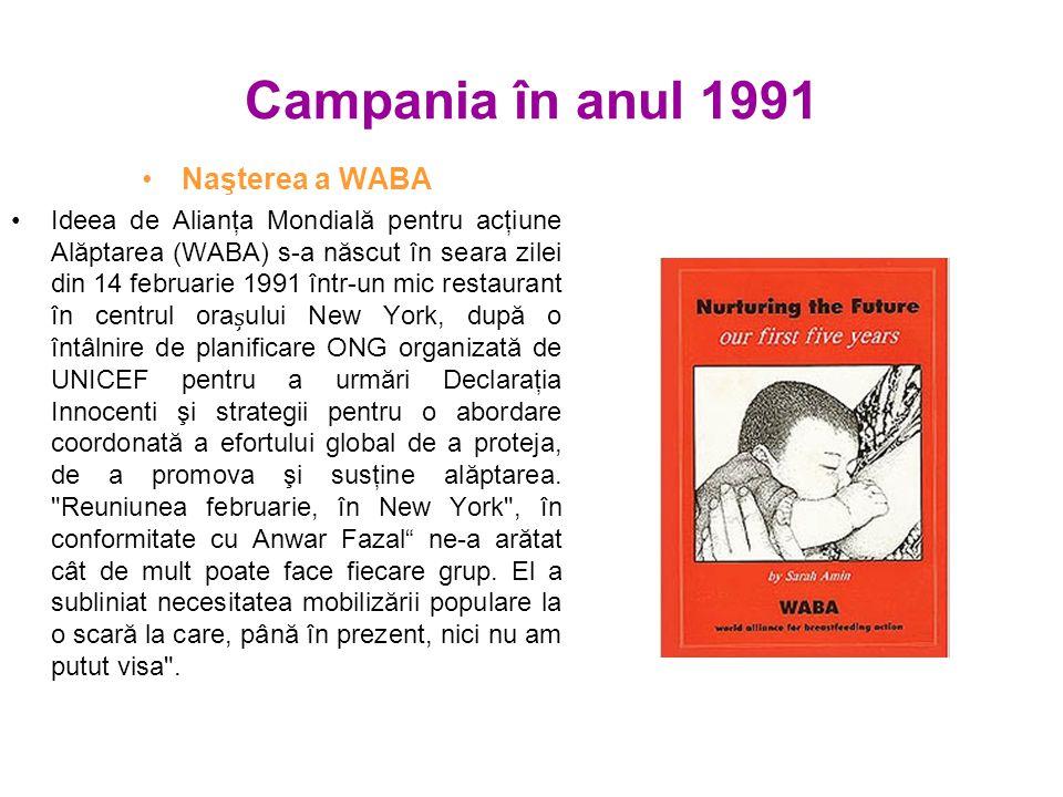 Campania în anul 1991 Naşterea a WABA Ideea de Alianţa Mondială pentru acţiune Alăptarea (WABA) s-a născut în seara zilei din 14 februarie 1991 într-un mic restaurant în centrul oraului New York, după o întâlnire de planificare ONG organizată de UNICEF pentru a urmări Declaraţia Innocenti şi strategii pentru o abordare coordonată a efortului global de a proteja, de a promova şi susţine alăptarea.