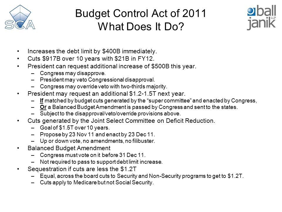 Budget Control Act of 2011 What Does It Do. Increases the debt limit by $400B immediately.