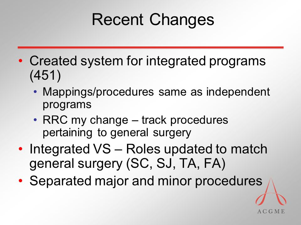 Recent Changes Created system for integrated programs (451) Mappings/procedures same as independent programs RRC my change – track procedures pertaining to general surgery Integrated VS – Roles updated to match general surgery (SC, SJ, TA, FA) Separated major and minor procedures