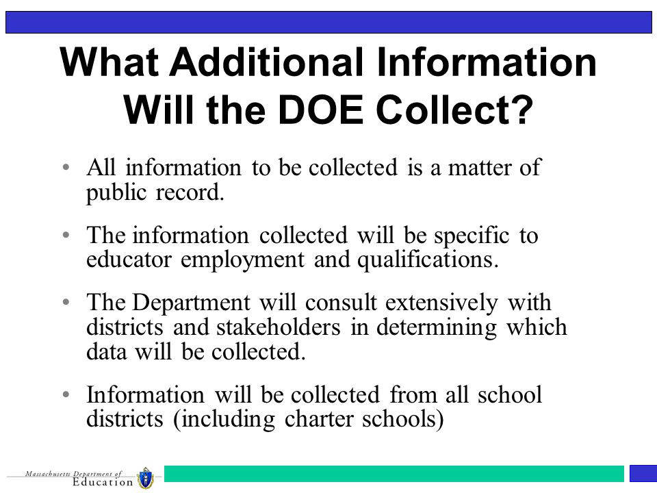 What Additional Information Will the DOE Collect.