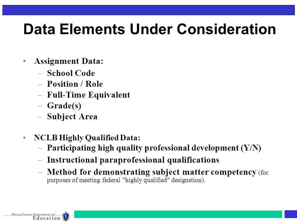 Assignment Data: –School Code –Position / Role –Full-Time Equivalent –Grade(s) –Subject Area NCLB Highly Qualified Data: –Participating high quality professional development (Y/N) –Instructional paraprofessional qualifications –Method for demonstrating subject matter competency (for purposes of meeting federal highly qualified designation).