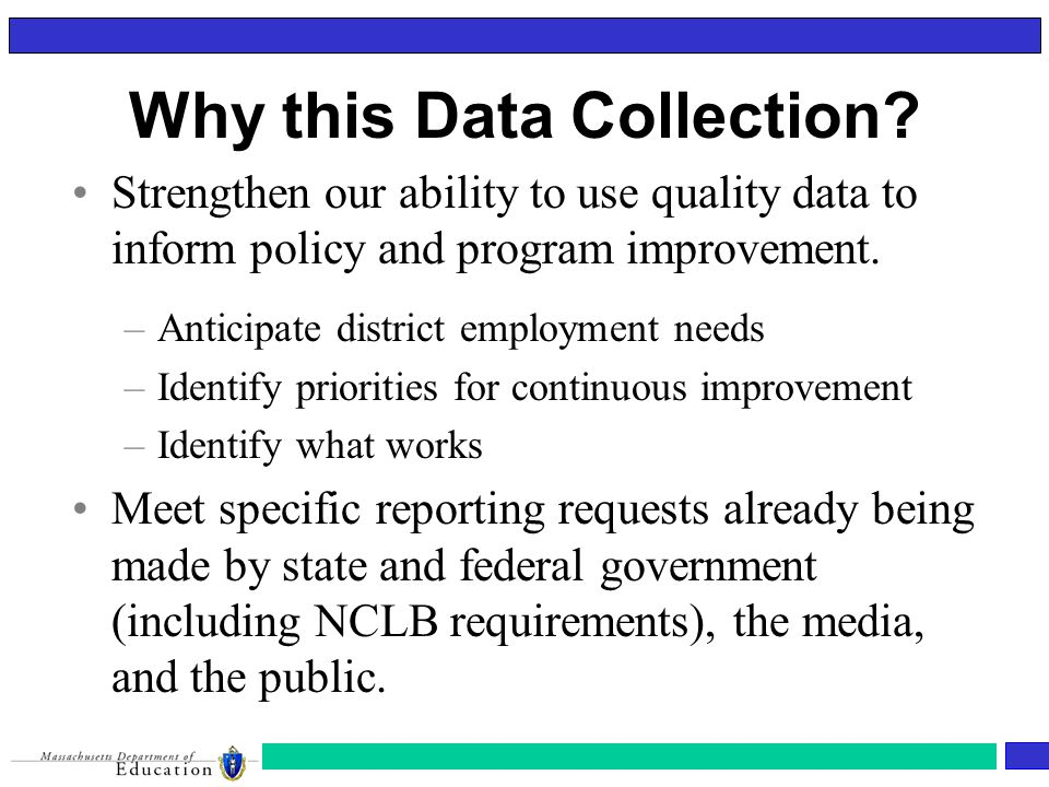 Data Elements Under Consideration Demographic Data: –ID (not SSN) –Name –Date of Birth –Gender –Race/Ethnicity