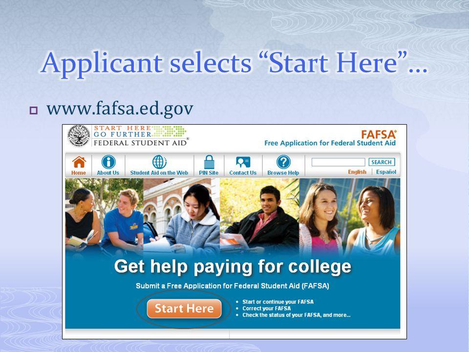  www.fafsa.ed.gov
